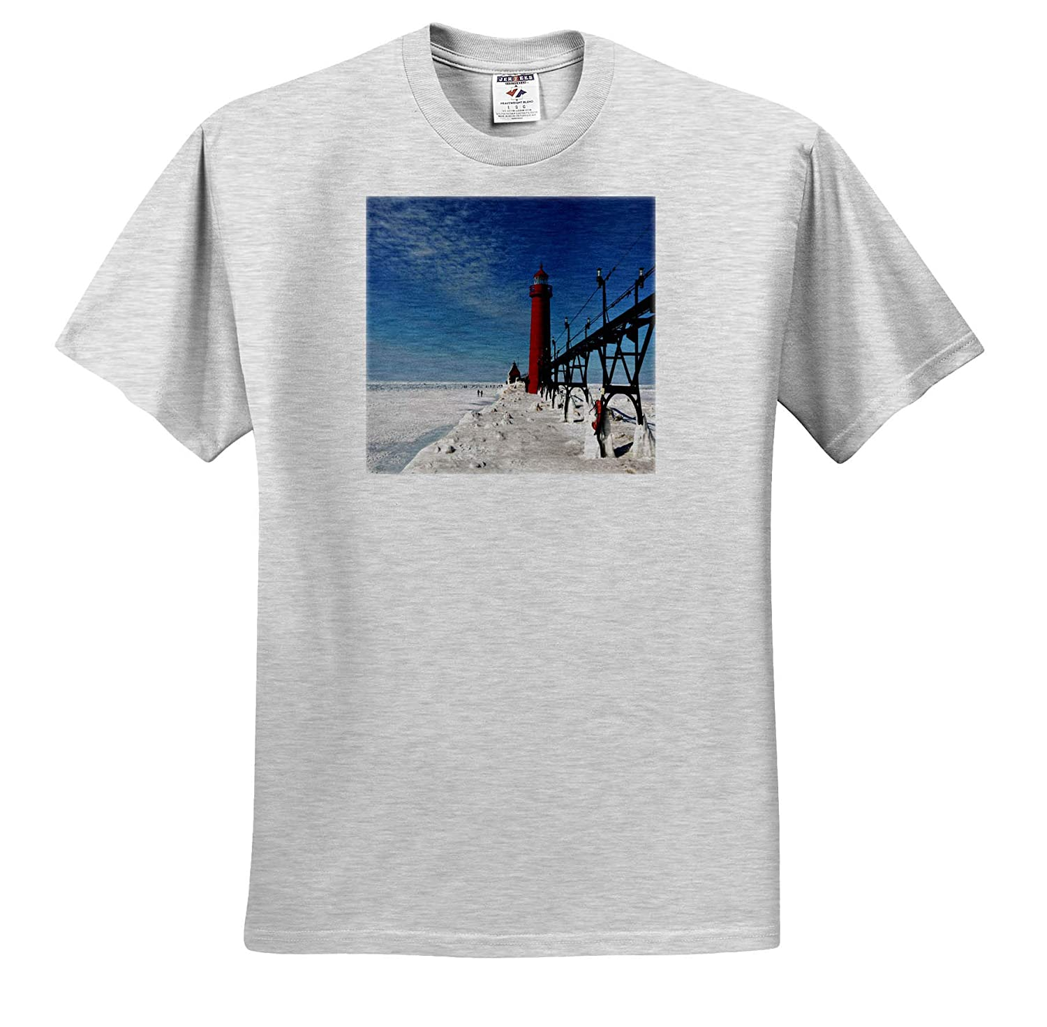 Adult T-Shirt XL Grand Haven Michigan Lighthouse and Ice House Scenery 3dRose Dreamscapes by Leslie ts/_314258