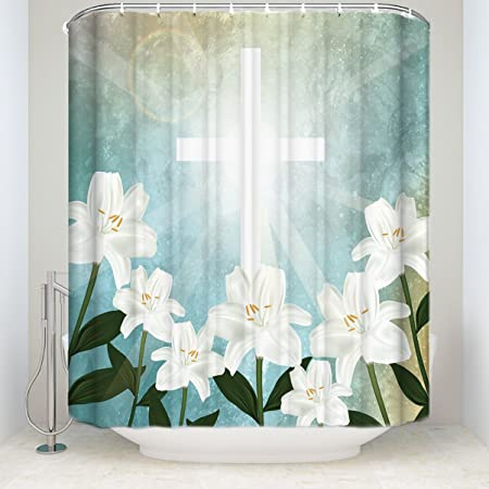 Easter Shower Curtain, Lily Flowers Blossoms in the Light of the ...