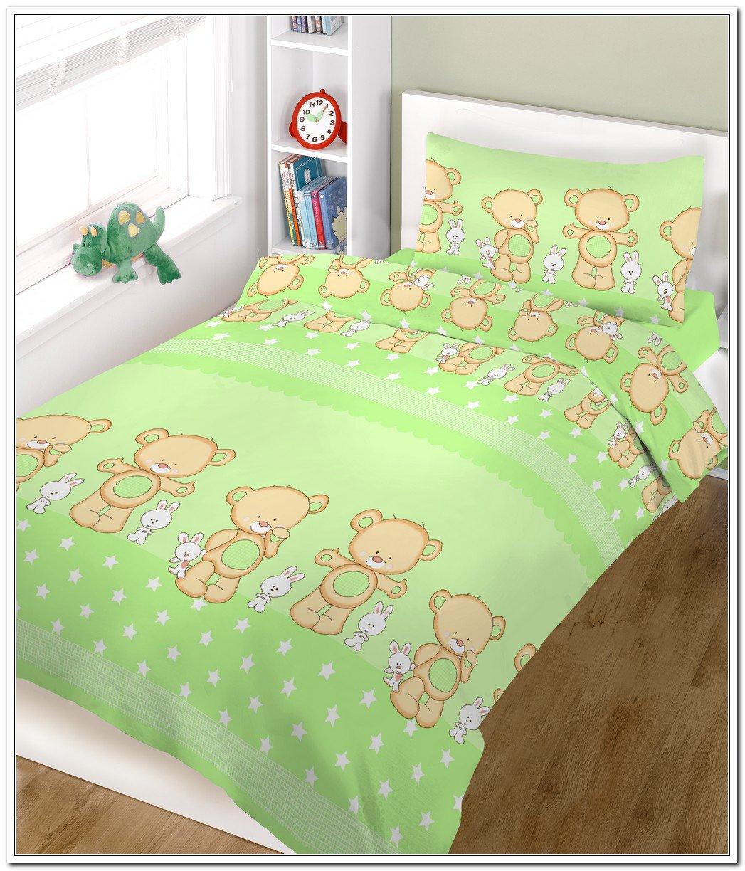 BlueberryShop 2 pcs BABY COT BED BUNDLE BEDDING SET DUVET+PILLOW COVERS matching cot bed 120 x 150 cm (47'' x 59'') (0-7Yrs) (150 x 120 cm) Green Happy Teddy