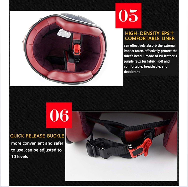 Harley casque de moto r/étro lunettes de protection visage ouvert 3//4 de certification DOT // casque de s/écurit/é pour voiture /électrique d/ét/é pour les hommes et les femmes r/éservoir Lucky Star ,XL