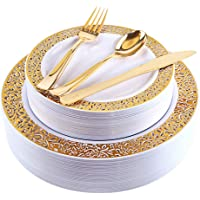 60 Pieces Plastic Gold Plates with Gold Plastic Silverware,Party Plastic Plates with Gold Trim, Disposable Heavy Duty Flatware Set,Enjoylife (Gold) (Gold)