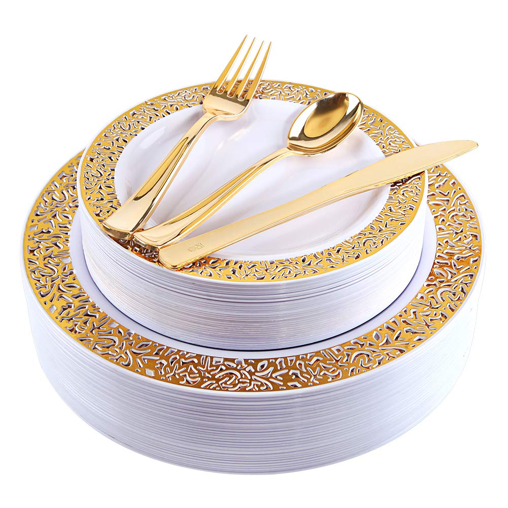 Gold Plastic Plates with Gold Plastic Silverware, Lace Design Plastic Plates, Disposable Party Plates Include 30 Dinner Plates, 30 Salad Plates, 30 forks, 30 knives, 30 spoons (gold)