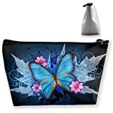 Blue Butterfly Flower Patterns Roomy Cosmetic Bag Waterproof Travel Makeup Toiletry Pouch Small Accessories Organizer…