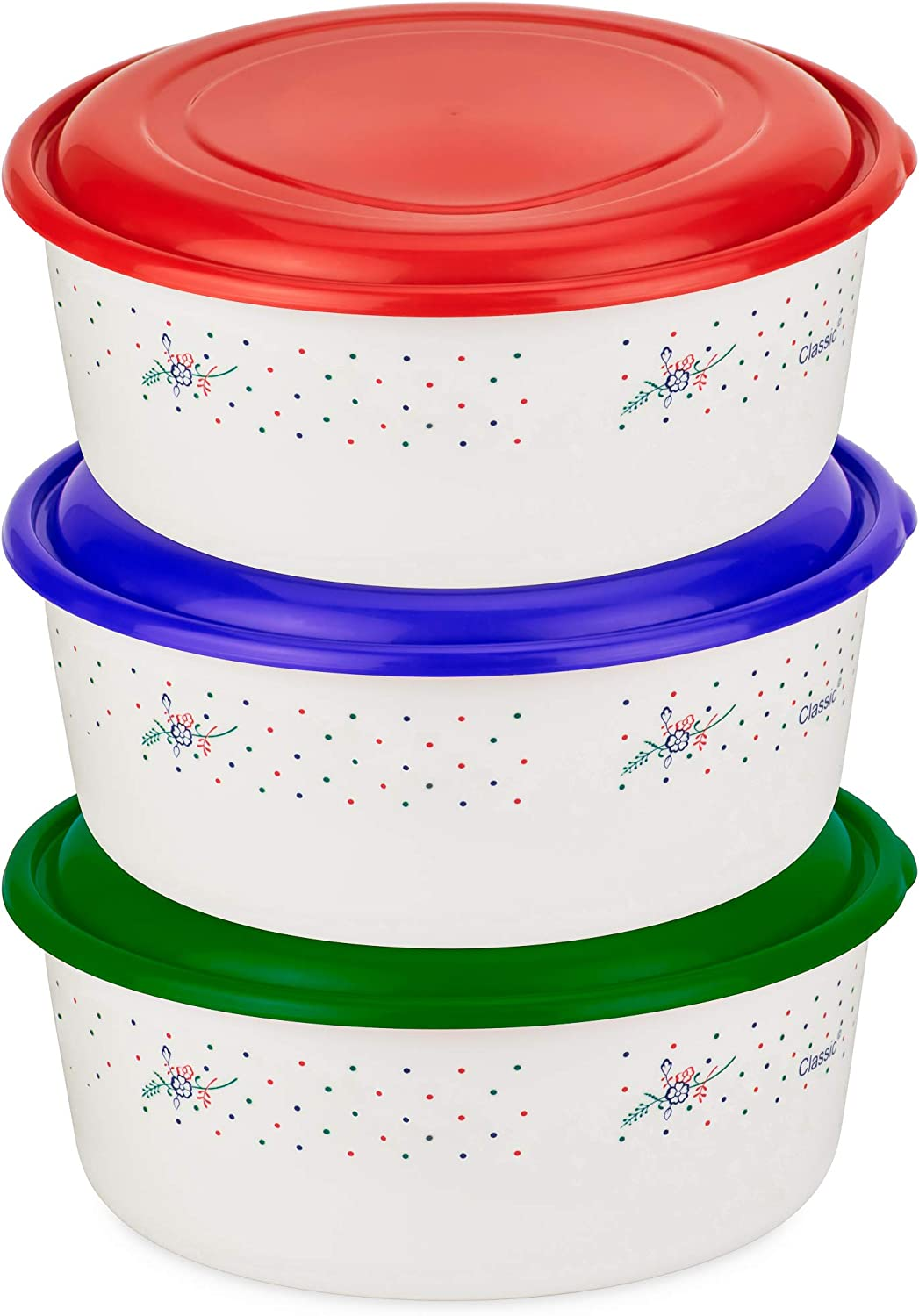 DecorRack 4 Quart Food Storage Container with Leak Proof Lid, Mixing Bowl, Reusable Large Container for Soup, Potluck, Meal Prep, (Assorted 3pk)