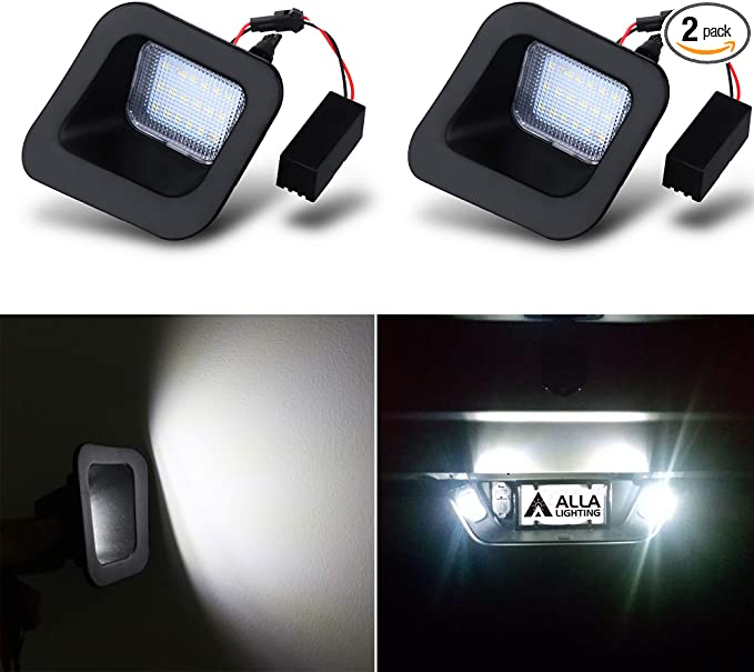 2-Pieces VLAND LED License Plate Light for 2003-2018 Dodge RAM 1500 2500 3500 Pickup Truck Smoke Lens