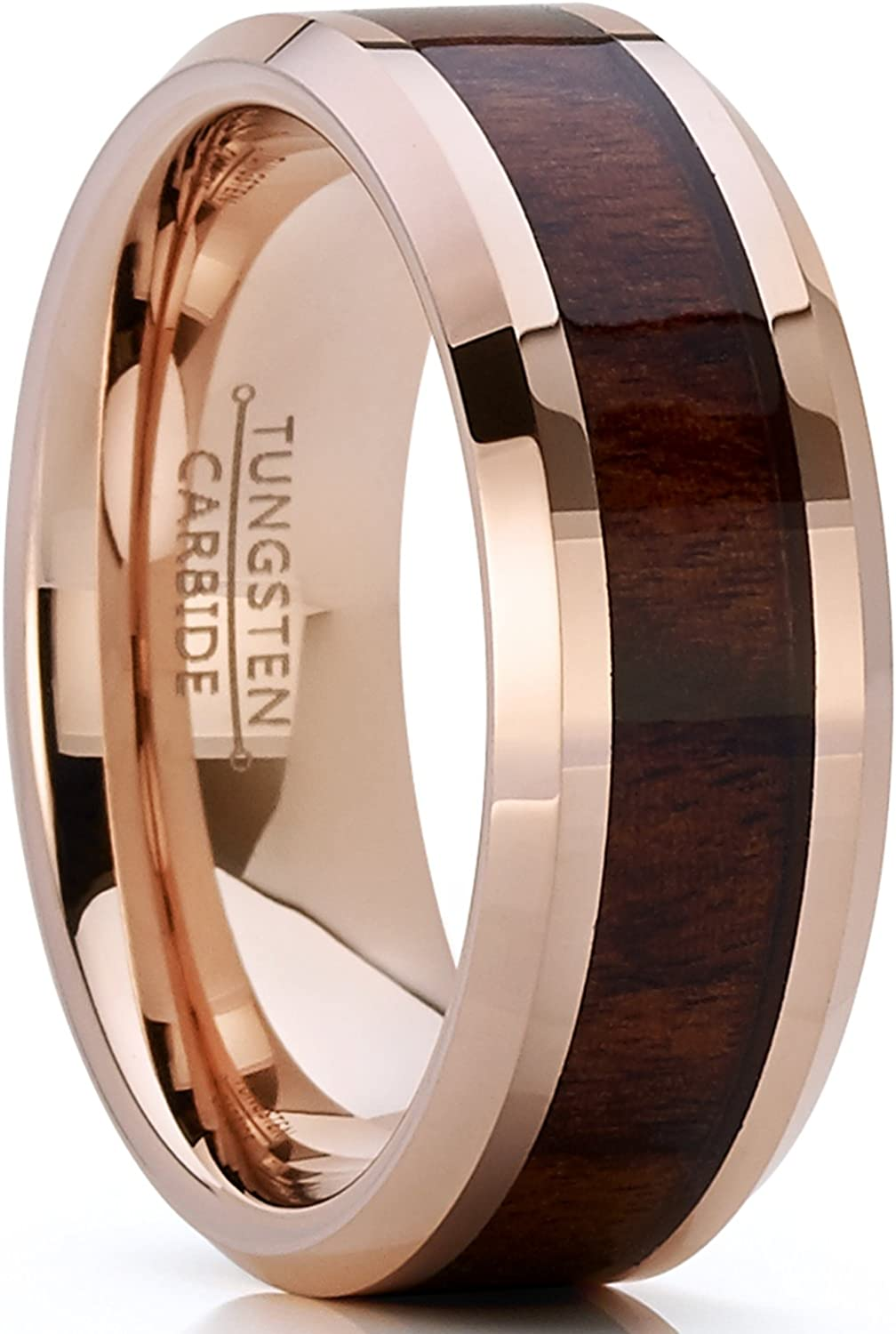 Bonndorf Men's Women's Rose Tone Tungsten Carbide Wedding Band Engagement Ring, Real Wood Inlay, Comfort Fit 8mm