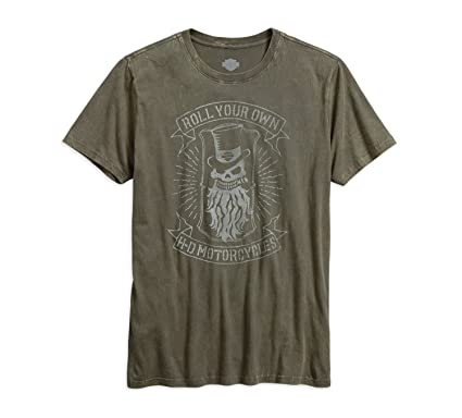 40b73119670333 Amazon.com  Harley-Davidson Mens Roll Your Own Skull Vintage Wash T ...