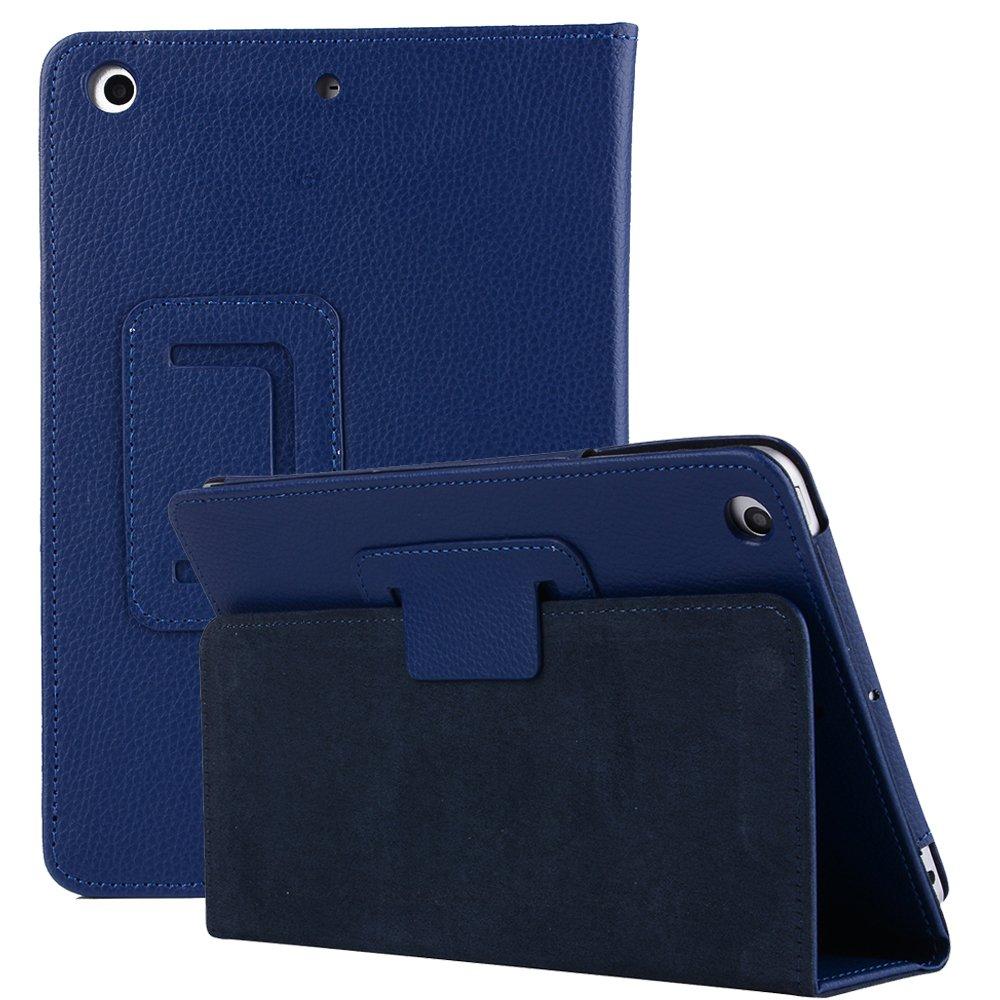 2019 iPad Mini 5 7.9 ''Cover, Miya Litchi Stria Design PU Leather Smart Bifold Stand Case Ultra Thin Lightweight Anti-Scratch Protective Cover for Apple iPad Mini 5 -Dark Blue by MIYA LTD