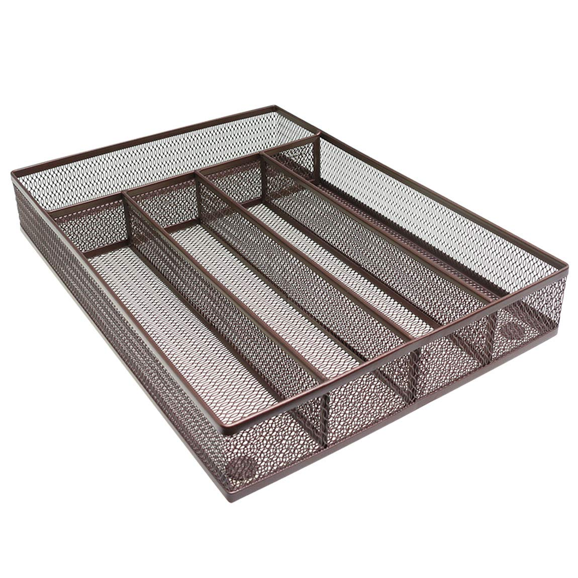 """SZAT PRO Mesh Silverware Tray Cutlery Drawer Organizer Kitchen Storage Flatware Set Utensil Knives Spoons Forks (Brown, 12.5"""" x 9.4"""" x 2"""", 5 Compartments)"""