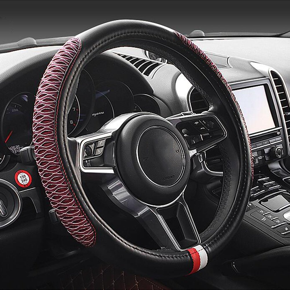 Auto Accessories Car Steering Wheel Cover Good Air Permeability Improve Driving Quality 38cm Universal Handle Cover, Red, A
