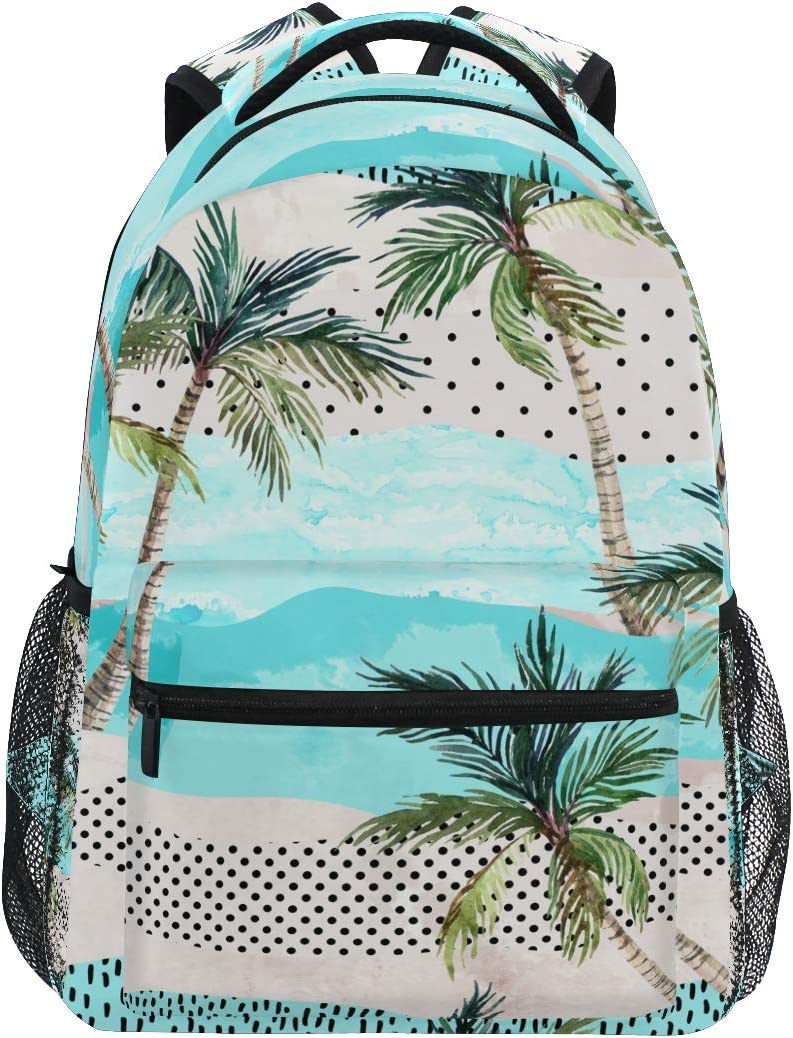 Watercolor Palm Trees Summer Beach School Backpack College Laptop Book Bag Casual Hiking Daypack for Boys Girls Teens Women Outdoor Travel Camping