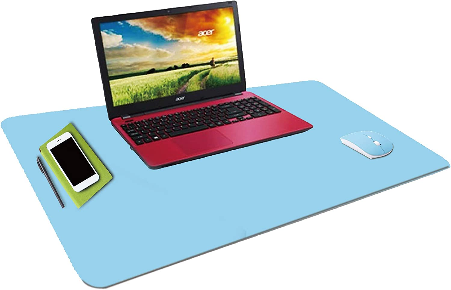 """WKX Dual Sided Office Desk Pad Laptop Desk PU Leather Desk Mat Computers Writing Mat and Mouse Pad Also Won't Break Your Budget (31.5"""" x 15.7"""") Two-Color(l.Blue/Grey)"""