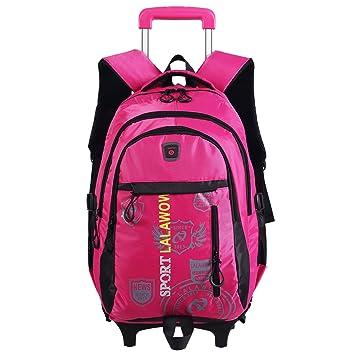 Lalawow Mochila grande con ruedas Senderismo Escuela de Moda Unisex Mochilas escolares Mochila Bolsa Trolley Mano viaje del equipaje (Rojo): Amazon.es: ...