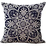 "Cotton Linen Square Decorative Throw Pillowcase Cushion Cover Retro Chinese style blue and white porcelain Bohemia pattern boho 18 ""X18 "" (2)"