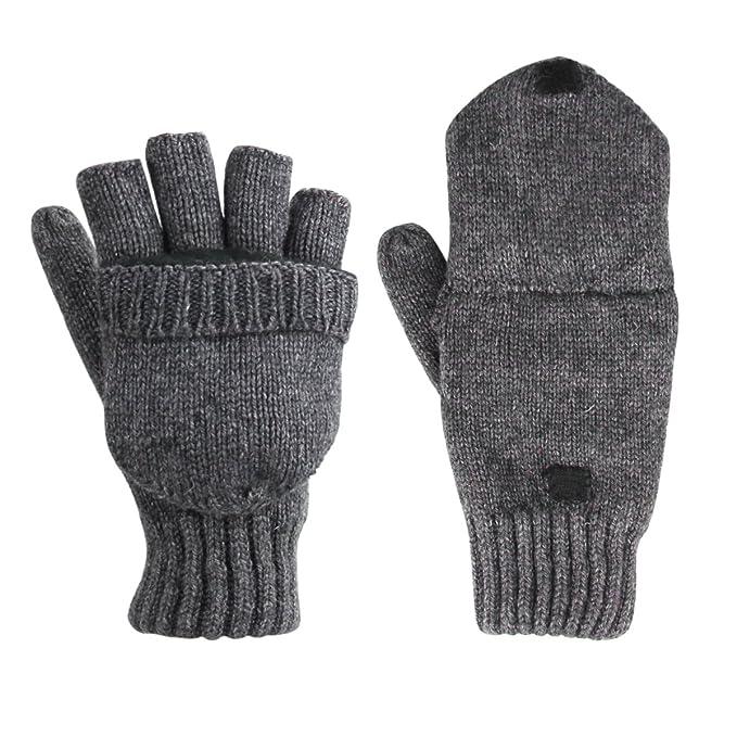 8c5b3ed91b35cc Unicoco Unisex Graue Winter Fingerlose Fäustlinge Fingerhandschuhe Fingerlos  Halb Handschuhe Strick Handschuhe mit Flip Top,
