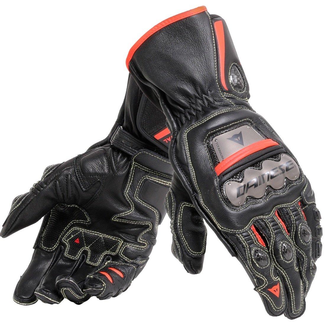 Dainese Full Metal 6 Leather Motorcycle Racing Gloves Black/Black/Fluo Red (Medium)