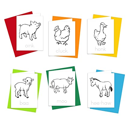 Amazon note cards farm animals greeting cards for kids to note cards farm animals greeting cards for kids to color trace letters and practice m4hsunfo