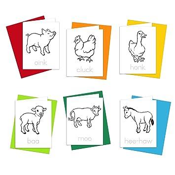 Color N Animales De Granja Para Colorear Tarjetas De