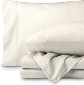 Bare Home Egyptian Cotton 300 Thread Count Sateen King Sheet Set (King, Ivory)