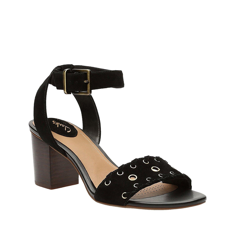 CLARKS Ralene Sheen Casual Sandals B01KYEYXHM 5 B(M) US|Black Suede