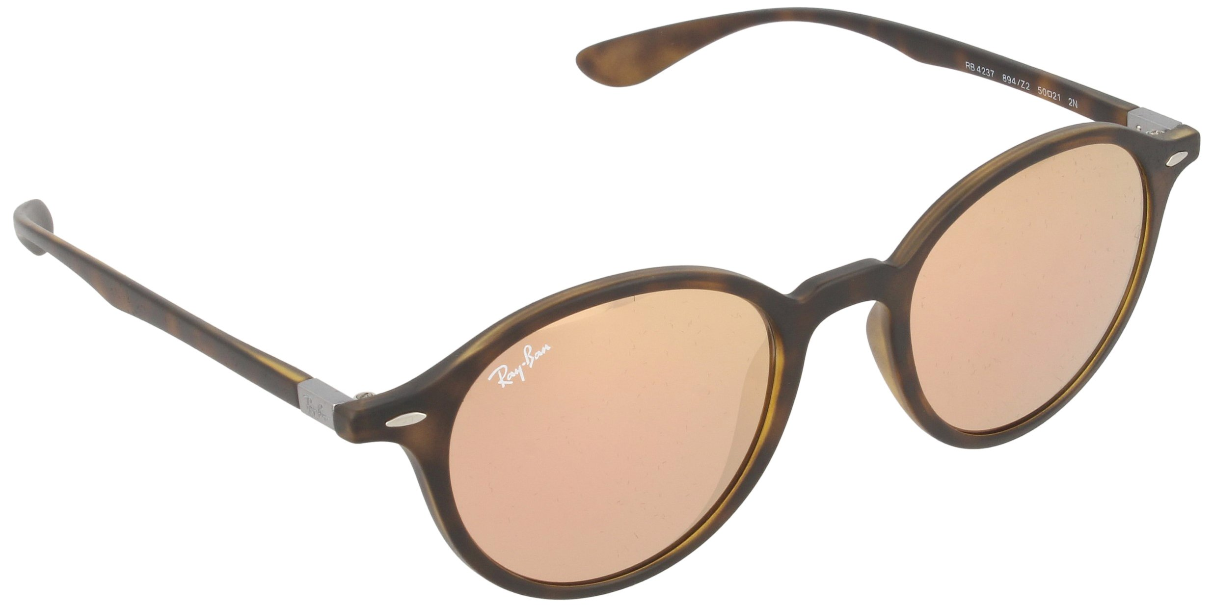 Ray-Ban INJECTED UNISEX SUNGLASS - MATTE HAVANA Frame LIGHT BROWN MIRROR PINK Lenses 50mm Non-Polarized