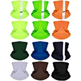 SATINIOR 12 Pieces Balaclava Face Mask Headbands Colorful Headwear Scarf UV Protection Neck Gaiter with Reflective Tape for W