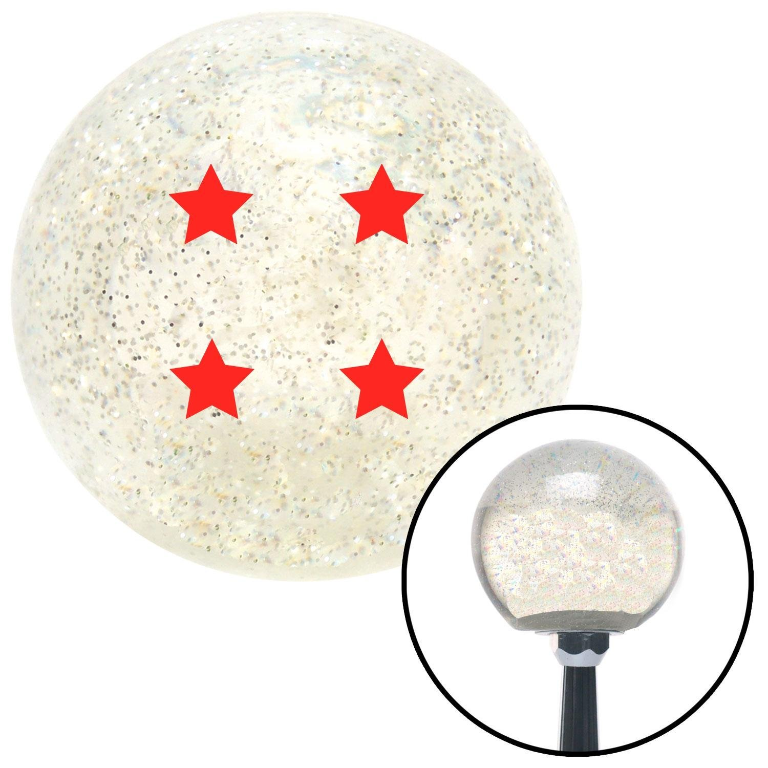 Red Dragon Ball Z - 4 Star American Shifter 141813 Clear Metal Flake Shift Knob with M16 x 1.5 Insert