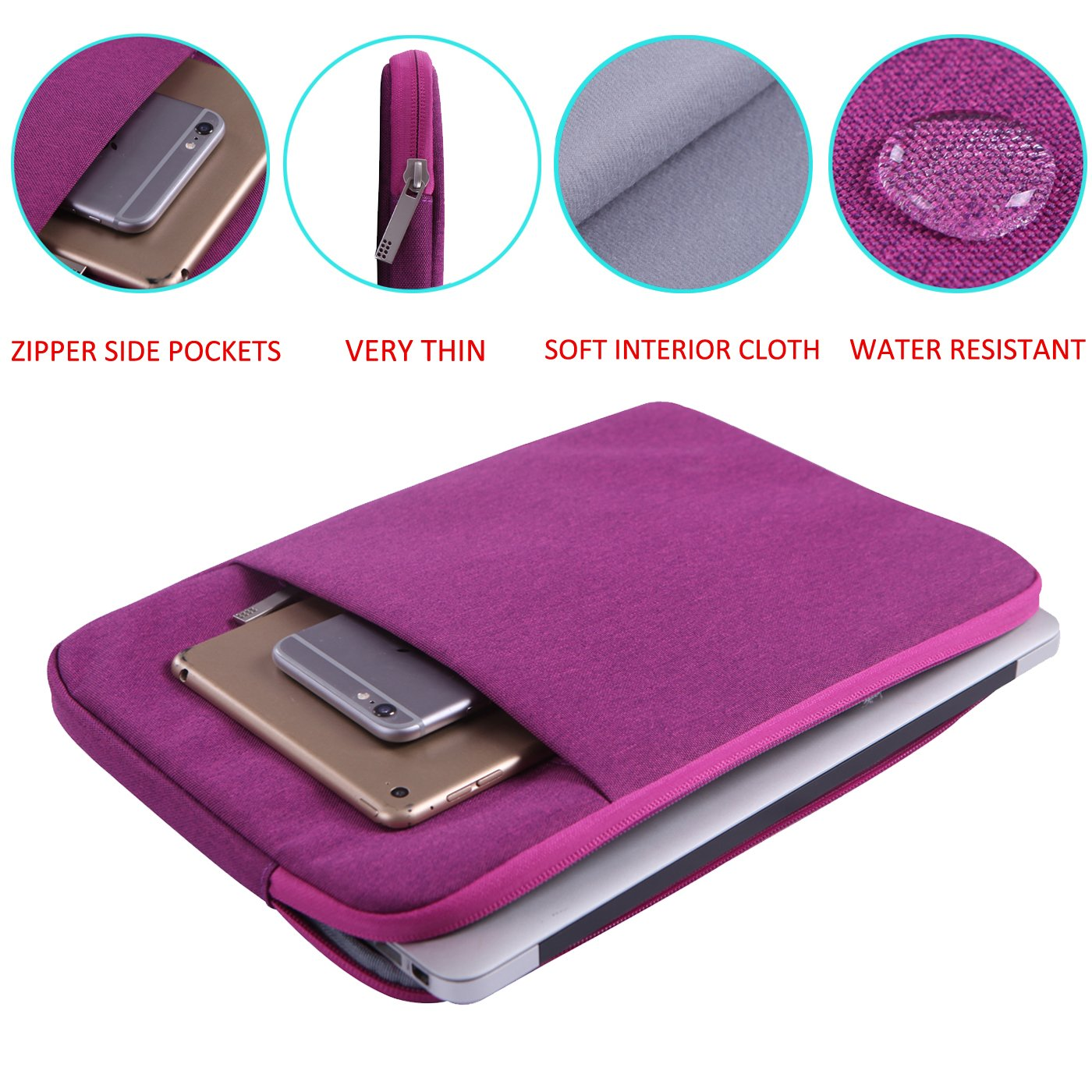 HDE 13-13.3 Inch Waterproof Laptop Sleeve for MacBook Air 13 / MacBook Pro 13 Notebook Carrying Case Bag Apple Dell Asus HP Chromebook Acer Lenovo Toshiba (Blue) HDE-49190