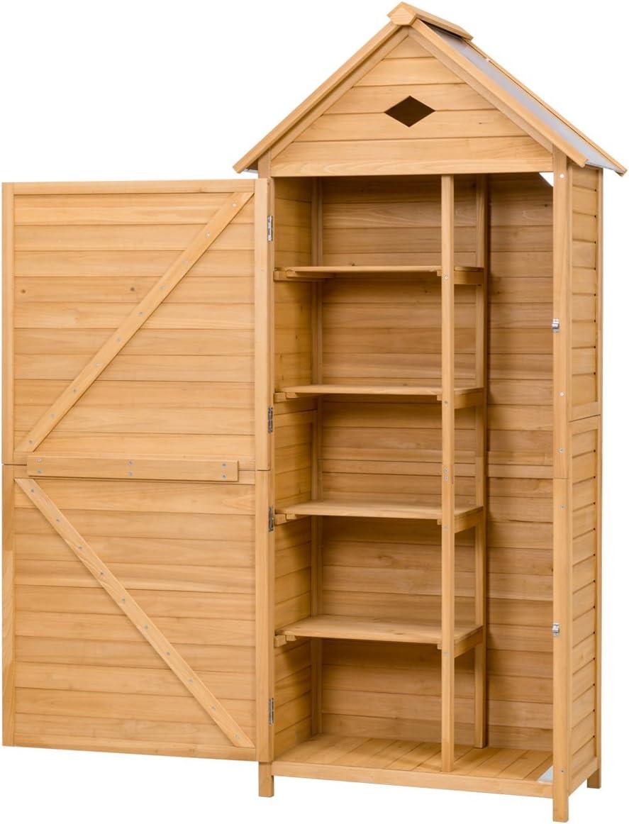 176 x 70 x 36 cm DREAMADE Casetta Porta Attrezzi da Esterno Ripostiglio da Giardino Capanno per Attrezzi in Legno