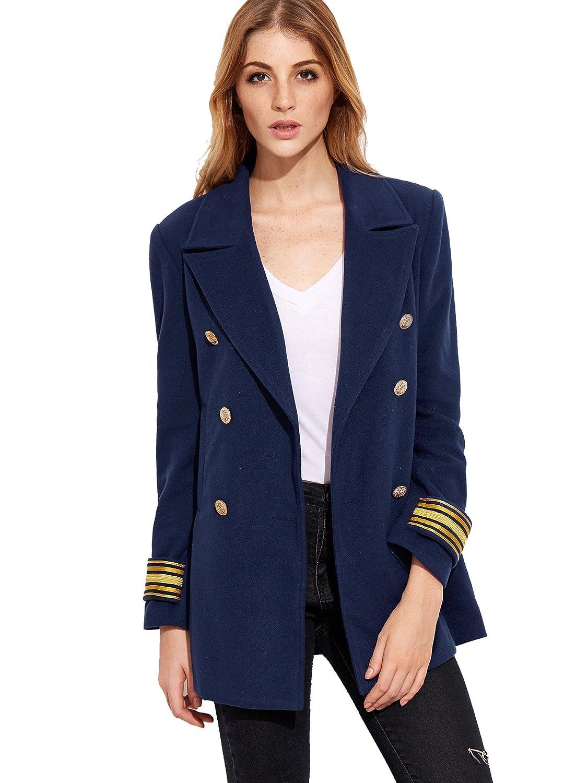 eb1066f7a8 SheIn Women's Double Breasted Blazer Jacket Coat With Pockets Large Navy:  Amazon.co.uk: Clothing