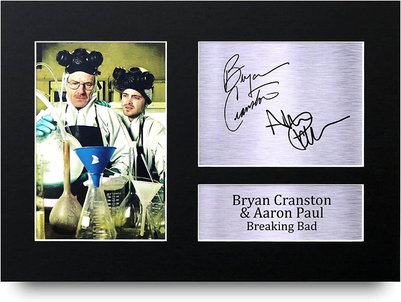HWC Trading Breaking Bad A4 Encadr/é Sign/é Image Autographe Imprim/é Impression Photo Cadeau DAffichage pour Bryan Cranston Aaron Paul TV Show Ventilateurs
