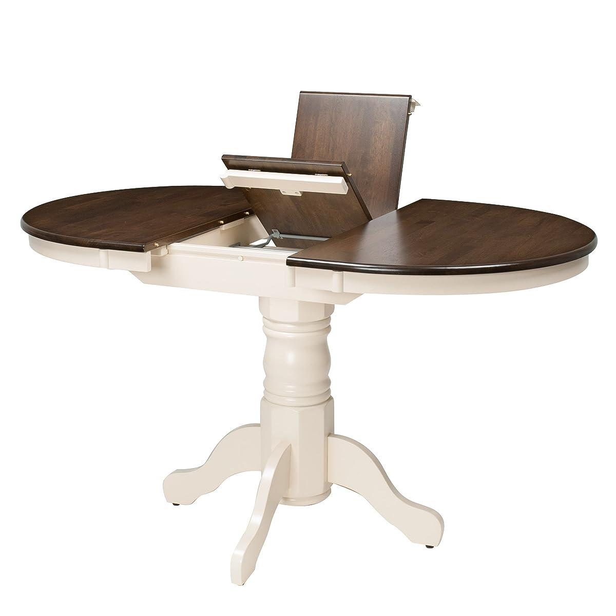CorLiving DSH-470-T Dillon Dining Table, Dark Brown/Cream