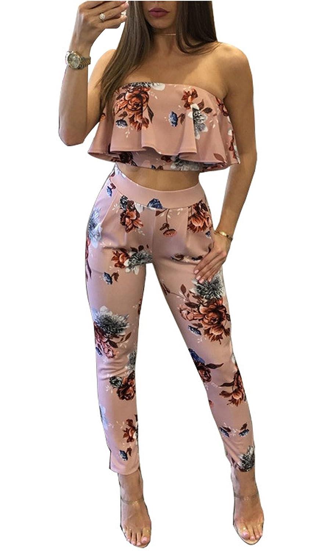 WOZNLOYE Estivo Donne Moda Floreali Due Pezzi Volant Crop Tops a Fascia Camicie + Vita Alta Legging Lunghe Pantaloni con Tasca