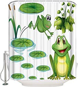 Big buy store Shower Curtain Green Frog and Water Lily Decor ,Waterproof Fabric Bathroom Decor Set with Hooks(Stall Long Size 54