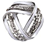 Rhodium Plated Mobius Strip Enamel Scarf Ring Clip Brooch Pin with Crystals (In Organza Pouch).