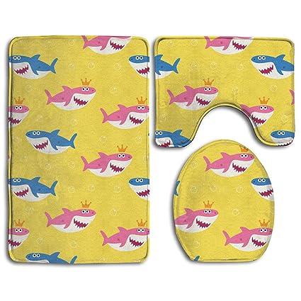 Amazon Com Cooltoiletlidcovercc 3 Piece Baby Shark Pattern