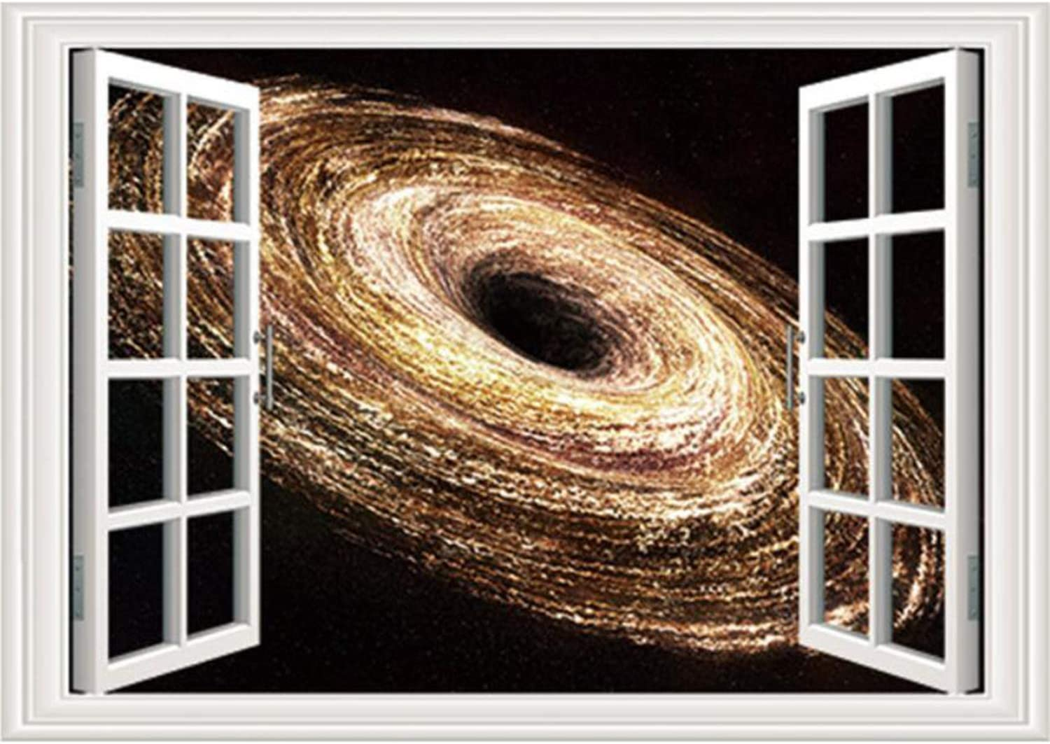 Prabahdak 3D Faux Windows Wall Sticker Removable Gold Spiral Galaxy Fake Windows Wall Sticker Vinyl Self-Adhesive Universe Space Wall Mural Stickers for Bedroom Living Room Decoration