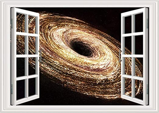 Amazon Com Prabahdak 3d Faux Windows Wall Sticker Removable Gold Spiral Galaxy Fake Windows Wall Sticker Vinyl Self Adhesive Universe Space Wall Mural Stickers For Bedroom Living Room Decoration Home Kitchen,Baby Closet Organizers Ideas