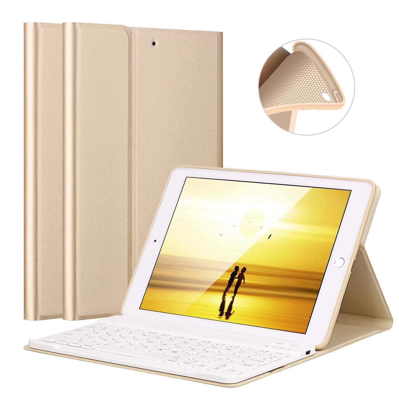 iPad 2017 View Angle Adjustable Magnetically Detachable Bluetooth V3.0 Keyboard 6th,Gen iPad Keyboard Case 9.7 for iPad 2018 //iPad Air 2//iPad Air LUCKYDIY Soft TPU Tablet Case 5th,Gen Bluetooth Keyboard Stand Cover