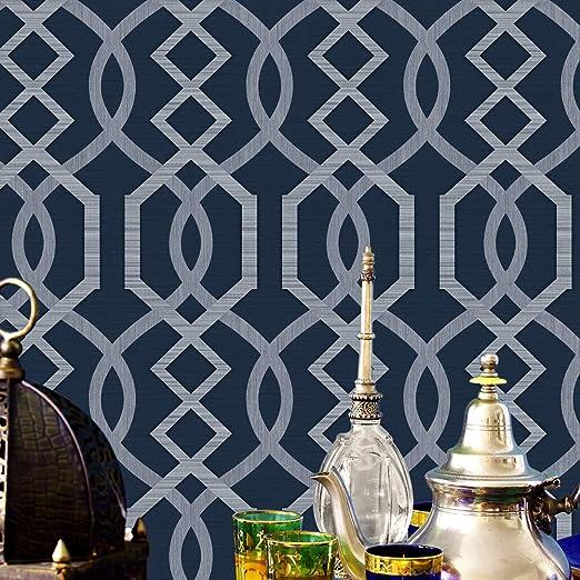 JZ·HOME 7265 Geometric Pattern Wallpaper Rolls, Silver/Dark Blue Embossed  Wall Paper Murals Bedroom Living Room Hotels Wall Decoration 20.8\