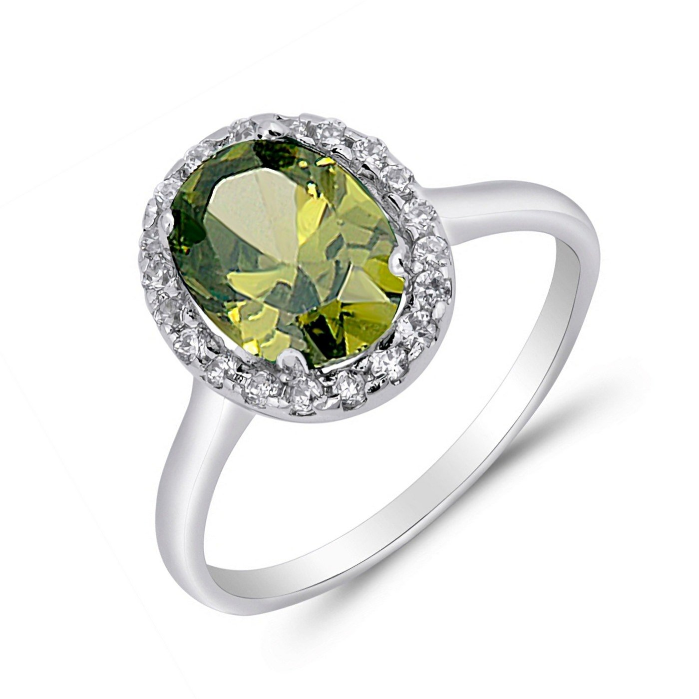 Simulated Peridot Cubic Zirconia Oval Round 925 Sterling Silver Solitaire Ring Sizes 5-10
