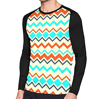2d6ba33ed4253d Amazon.com  SARA NELL Mens Ethnic Tribal Zig Zag Raglan Long Sleeve T Shirt  Baseball Tee  Clothing