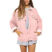 Oversized Jean Jacket Women's Vintage Washed Boyfriend Plus Size Denim Jacket