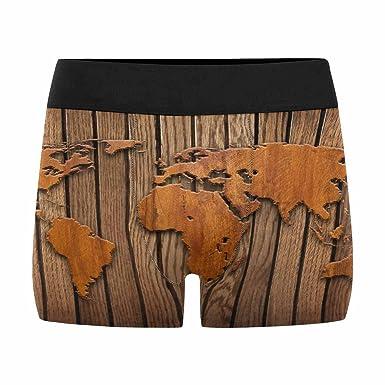 INTERESTPRINT Custom Men\'s Boxer Briefs World Map Carving on Wood ...