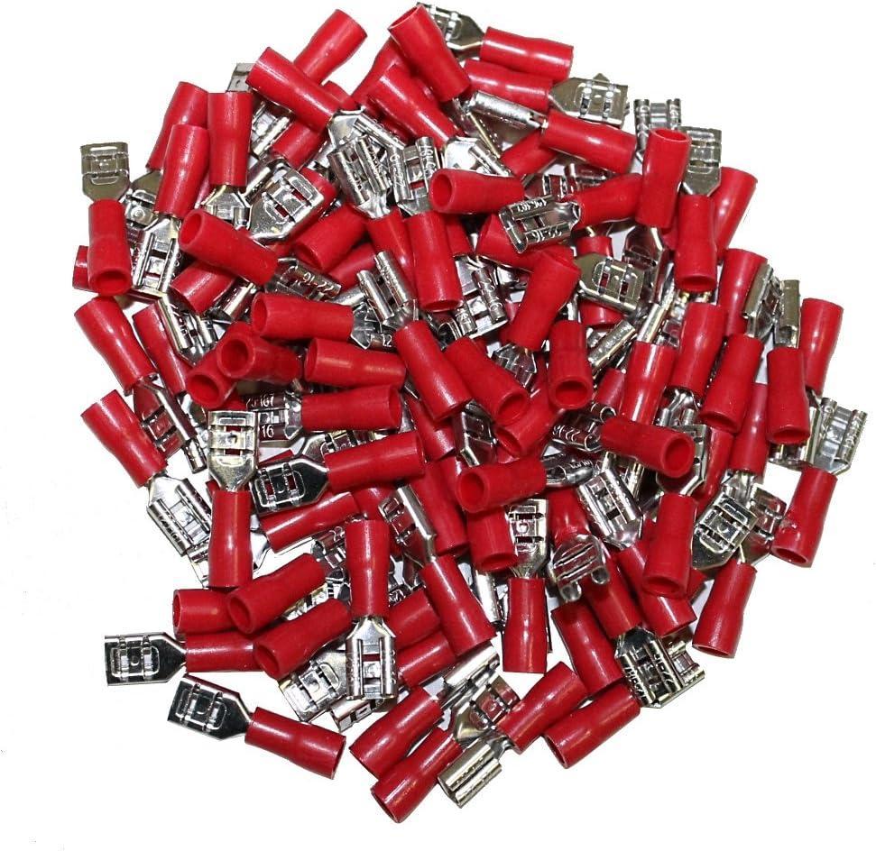 Juego de 100 hembra aisl/ó terminales cable el/éctrico 4.75mm Color AERZETIX rojo C1274