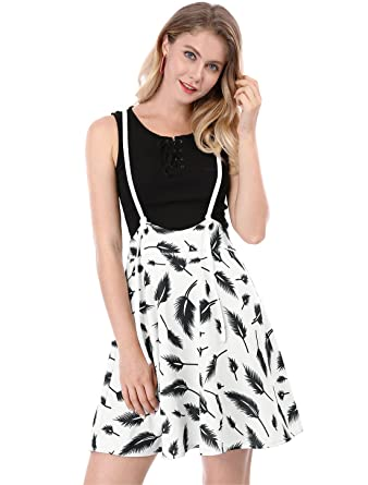 4558e889e8b Allegra K Women s High Waist Feather Print A-Line Overall Dress ...