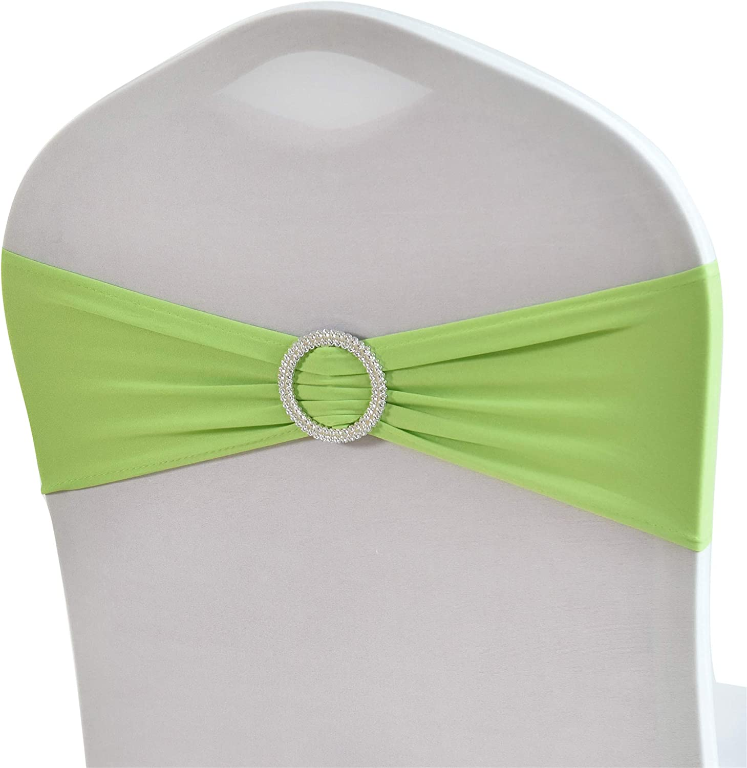 WEBEE Apple Green Spandex Chair Bands Elastic Chair Sashes with Buckle- 50 PCS Wedding Banquet Party Hotel Event Decoration Chair Bows Ties (Apple Green, 50 PCS)