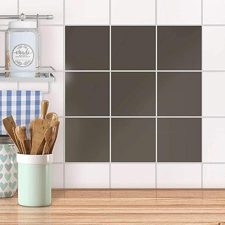 Auto-adhésif décoratif Carreau I Mosaique Murale - Enjolivure de Salle  d\'eau I Design Gris Brun 1 I 15x15 cm (9 pièces)
