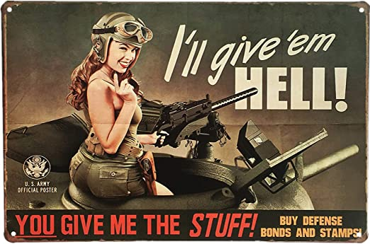 VINTAGE STYLE METAL SIGN Pinup Girl   Lady Luck 12 x 18