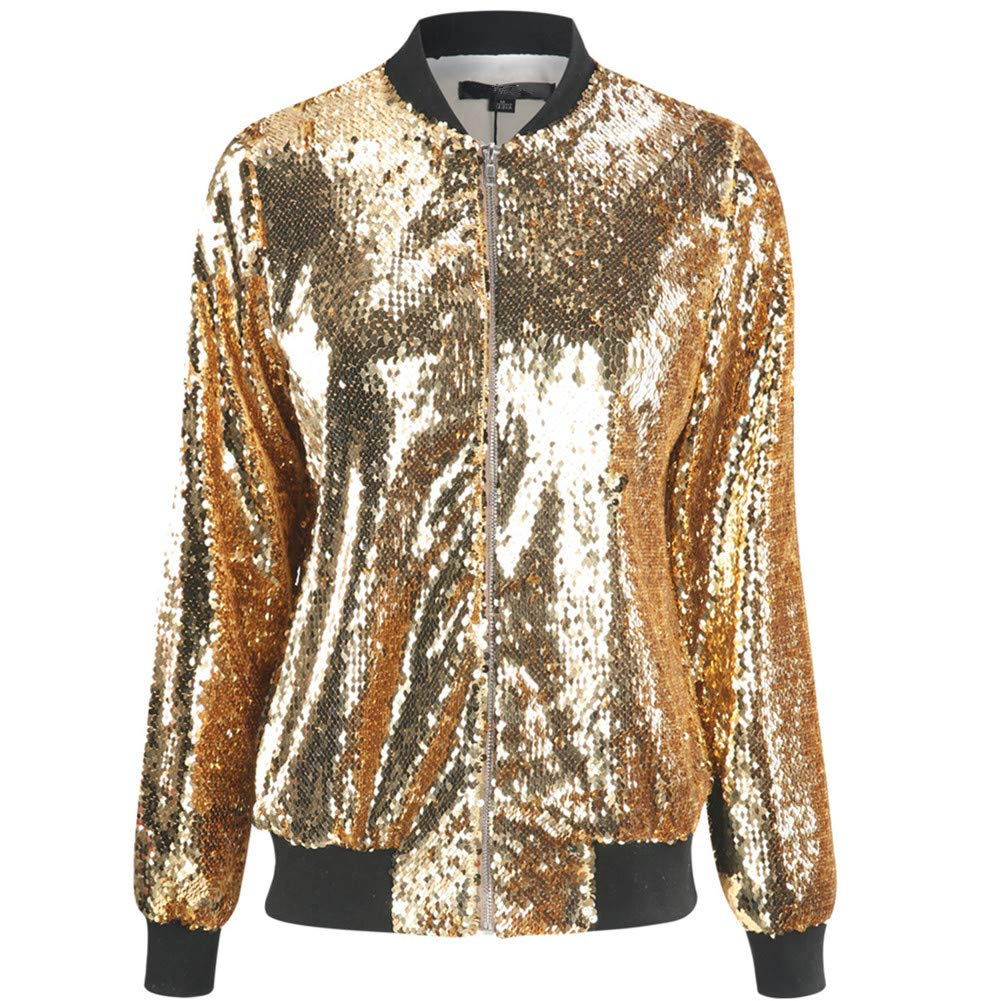 Cresay Women's Sequin Fitted Long Sleeve Zipper Blazer Bomber Jacket-Rose Gold L